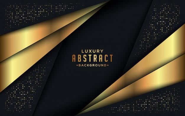 Abstrait luxe sombre avec des lignes dorées et des combinaisons de points dorés.