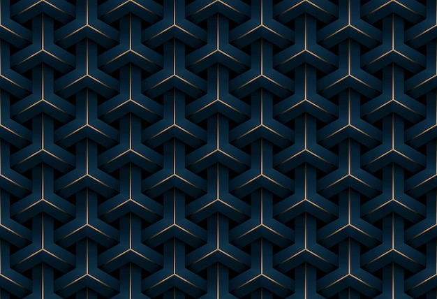 Abstrait luxe transparente motif géométrique bleu et or foncé