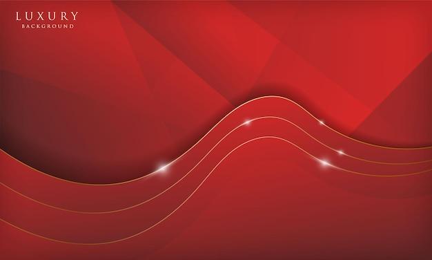 Abstrait de luxe vague rouge et or