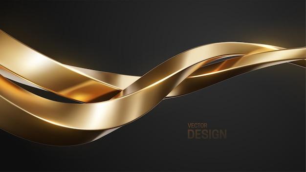 Abstrait luxueux avec des formes entrelacées d'or