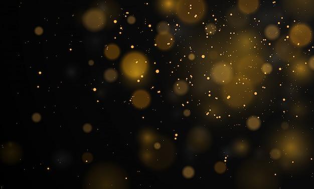 Abstrait magique avec effet de lumières bokeh, noir et blanc, argent, paillettes d'or