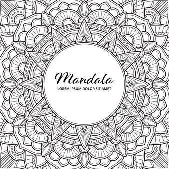 Abstrait mandala arabesque coloriage adulte livre illustration de la couverture de l'album t-shirt . fond d'écran floral.