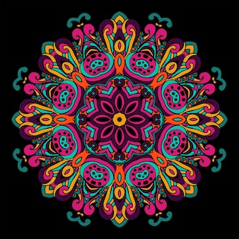 Abstrait de mandala géométrique ethnique tribal vintage festif. napperon rond ornement sur noir