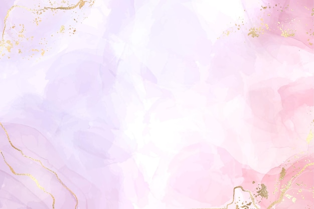 Abstrait de marbre liquide rose et lavande à deux couleurs avec des rayures dorées et de la poussière scintillante. effet de dessin aquarelle violet rose pastel. toile de fond d'illustration vectorielle avec des éclaboussures d'or.