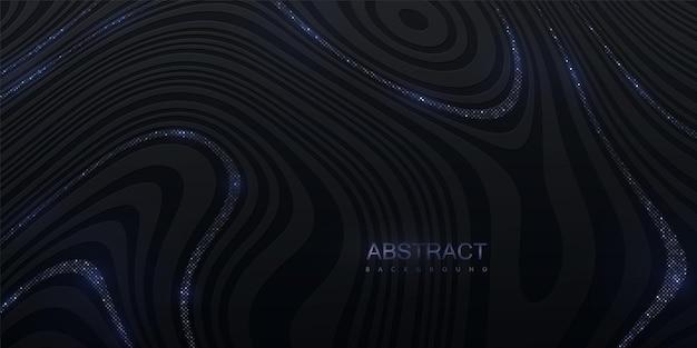 Abstrait marbré avec texture rayée noire avec des paillettes argentées