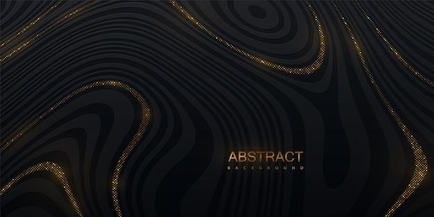 Abstrait marbré avec texture rayée noire avec des paillettes dorées