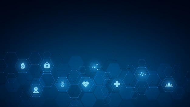 Abstrait médical avec des icônes et des symboles. modèle avec concept et idée pour la technologie de la santé, la médecine de l'innovation, la santé, la science et la recherche.