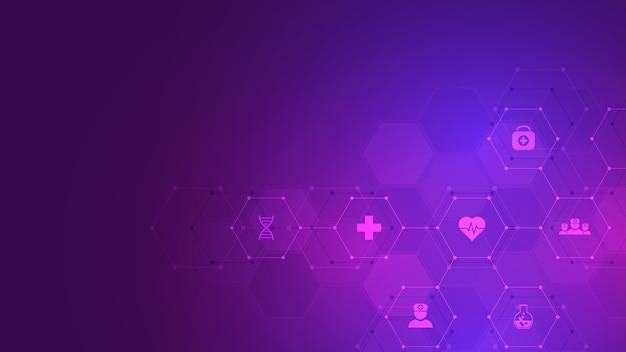 Abstrait médical, idée de technologie de la santé, médecine de l'innovation, santé, science et recherche.