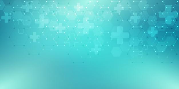 Abstrait médical avec motif hexagones