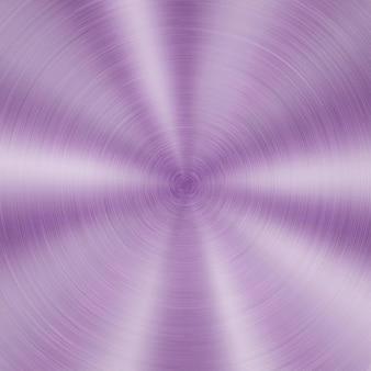 Abstrait Métal Brillant Avec Texture Brossée Circulaire De Couleur Violette Vecteur Premium