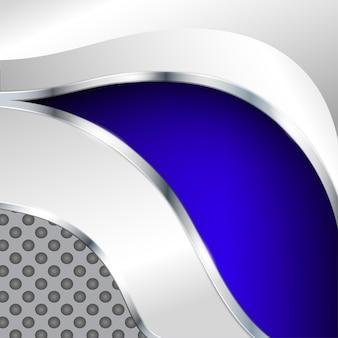 Abstrait métallique avec élément bleu. illustration vectorielle.