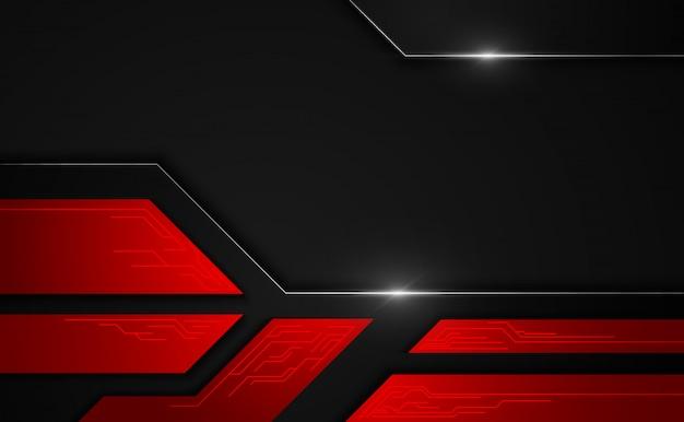 Abstrait métallique rouge cadre noir mise en page technologie innovation concept fond