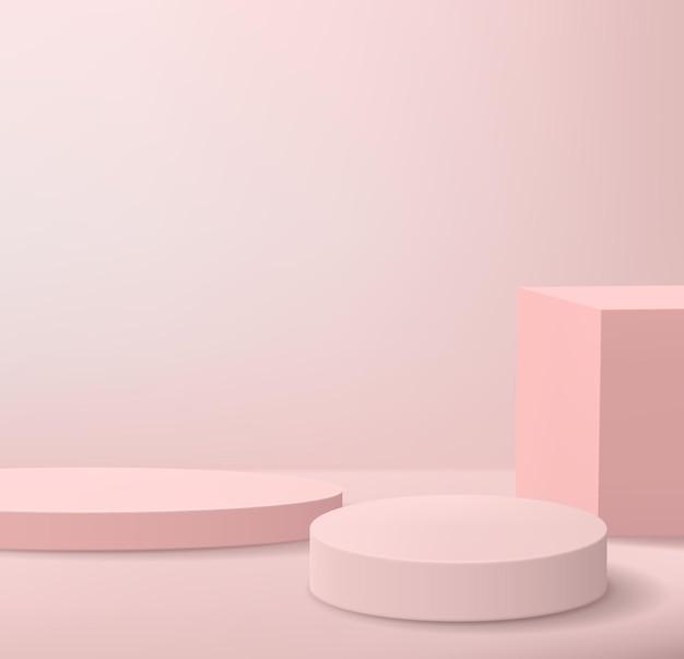 Abstrait minimaliste avec des podiums aux couleurs roses. socles vides pour l'affichage des produits.