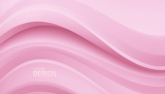 Abstrait minimaliste avec relief rose doux sinueux