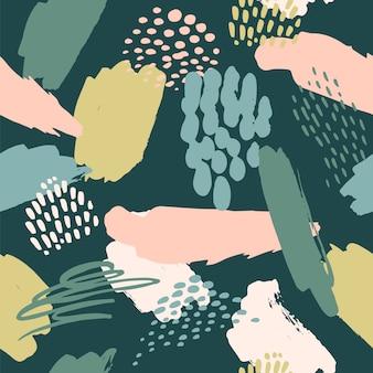 Abstrait modèle sans couture artistique avec des textures, des taches, des coups de pinceau à la mode.
