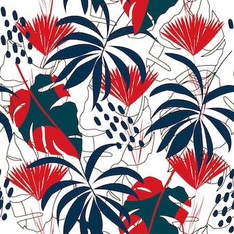 Abstrait modèle sans couture avec des feuilles tropicales colorées et des plantes sur fond blanc