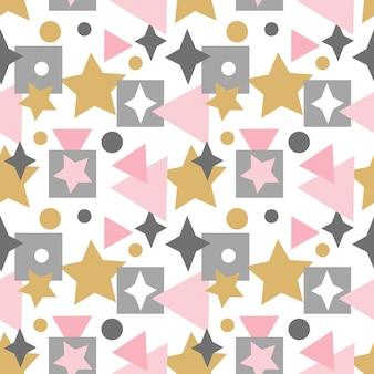Abstrait modèle sans couture avec lignes étoiles carrés et autres éléments