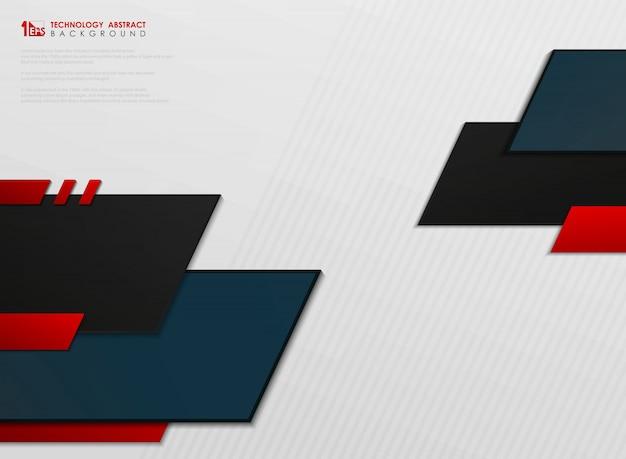 Abstrait de modèle de technologie abstraite bleu et rouge futur sur fond blanc