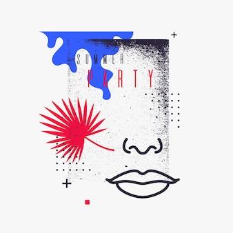 Abstrait moderne avec affiche du parti vecteur style plat