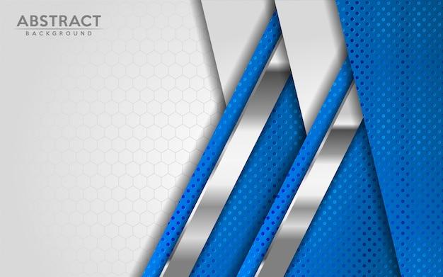Abstrait moderne blanc et bleu avec effet de texture de couches de superposition 3d.