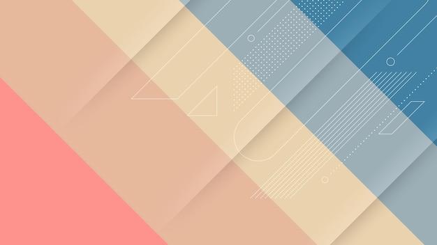 Abstrait moderne avec dégradé de couleurs douces ou pastel et élément memphis