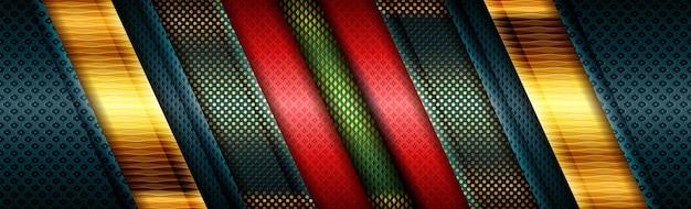 Abstrait moderne design vert rouge polygonal avec ligne dorée