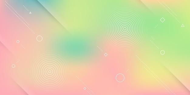 Abstrait moderne avec effet de flou, couleurs arc-en-ciel douces et éléments de memphis.
