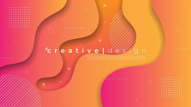 Abstrait moderne avec élément liquide fluide et dégradé de couleur.