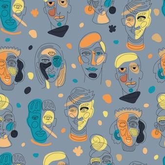 L'abstrait moderne fait face à des silhouettes contemporaines d'homme femme femme contour dessiné à la main illustrati ...