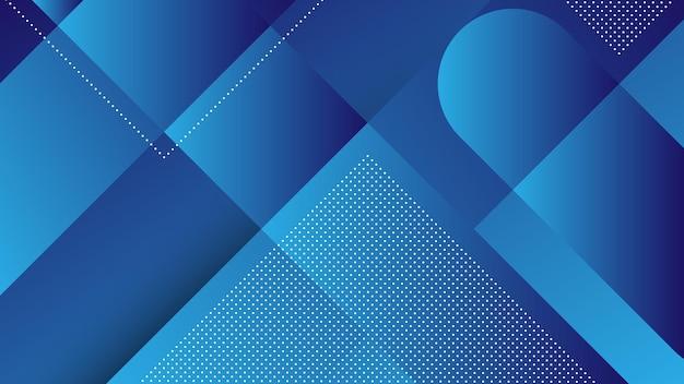 Abstrait moderne avec des lignes diagonales et élément memphis et dégradé de couleur bleue
