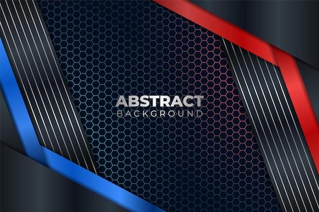 Abstrait moderne métallisé brillant bleu et rouge avec fond sombre hexagonal