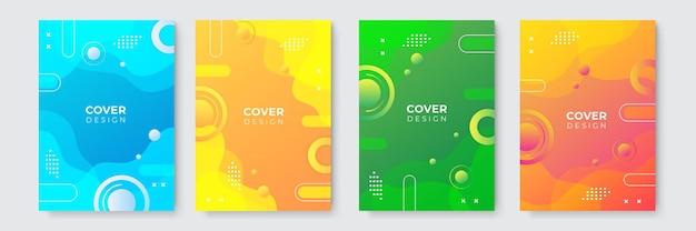 Abstrait moderne. modèle de couverture d'entreprise bleu jaune vert orange abstrait vectoriel. arrière-plan minimal d'affaires avec cadre de cercle de demi-teintes. fond dégradé.