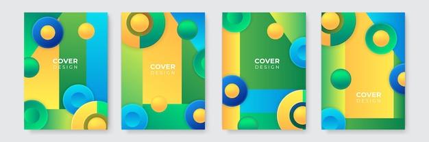 Abstrait moderne. modèle de couverture d'entreprise bleu vert jaune abstrait vectoriel. arrière-plan minimal d'affaires avec cadre de cercle de demi-teintes. fond dégradé.