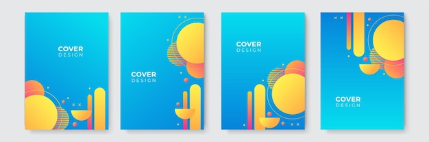 Abstrait moderne. modèle de couverture d'entreprise vecteur abstrait bleu et jaune. arrière-plan minimal d'affaires avec cadre de cercle de demi-teintes. fond dégradé.
