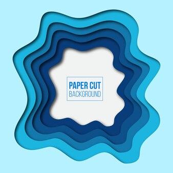 Abstrait moderne papier bleu coupé de fond