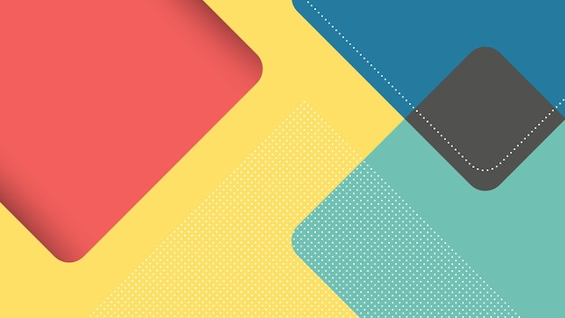 Abstrait moderne avec triangle carré dans un style papercut en jaune, bleu et rouge