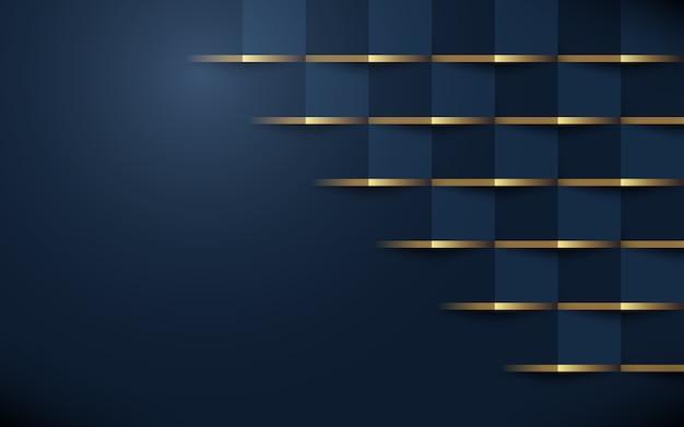 Abstrait motif géométrique 3d bleu foncé avec de l'or