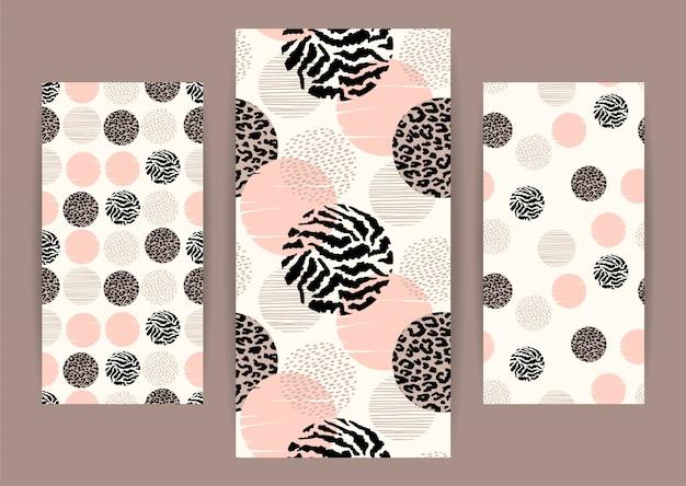 Abstrait motif géométrique sans couture avec impression animale et cercles.