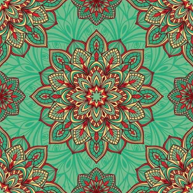 Abstrait motif indien turquoise avec des mandalas.