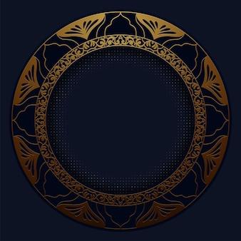 Abstrait motif polygonale luxe bleu foncé avec de l'or