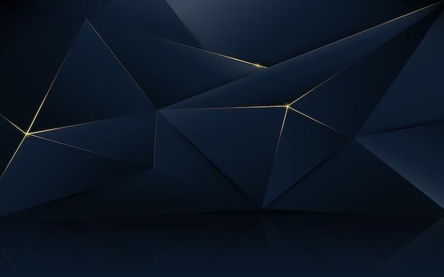 Abstrait motif polygonale de luxe bleu foncé avec de l'or