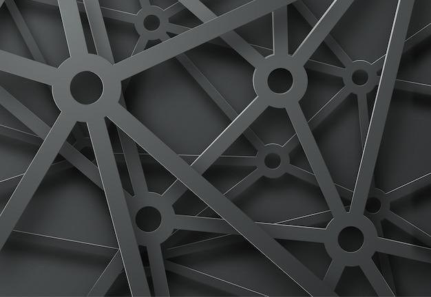 Abstrait avec un motif de toiles d'araignées de mécanismes sur fond noir.