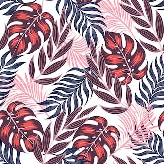 Abstrait motif tropical sans couture avec des plantes et des feuilles lumineuses sur fond clair