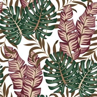 Abstrait motif tropical sans couture avec des plantes et des feuilles lumineuses sur un fond délicat