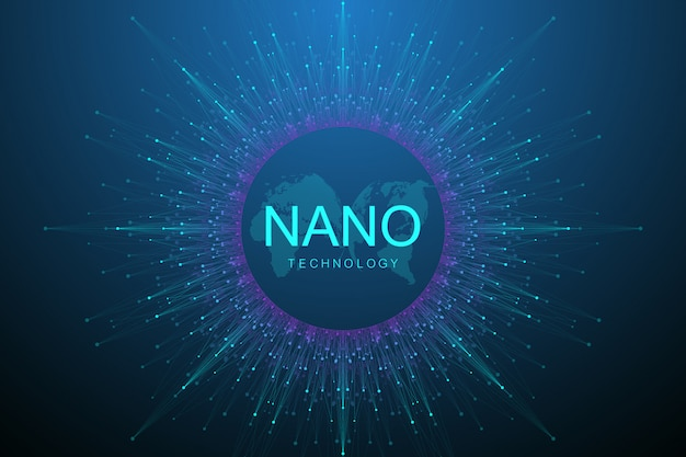 Abstrait des nanotechnologies. concept de cyber-technologie. intelligence artificielle, réalité virtuelle, bionique, robotique, réseau mondial, microprocesseur, nano robots.