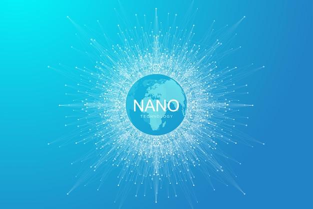 Abstrait de nanotechnologies. concept de technologie cybernétique. intelligence artificielle, réalité virtuelle, bionique, robotique, réseau mondial, microprocesseur, nano robots. illustration vectorielle, bannière