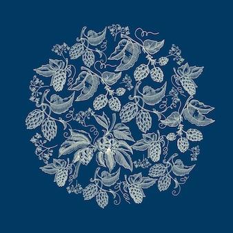 Abstrait naturel guirlande ronde fond bleu