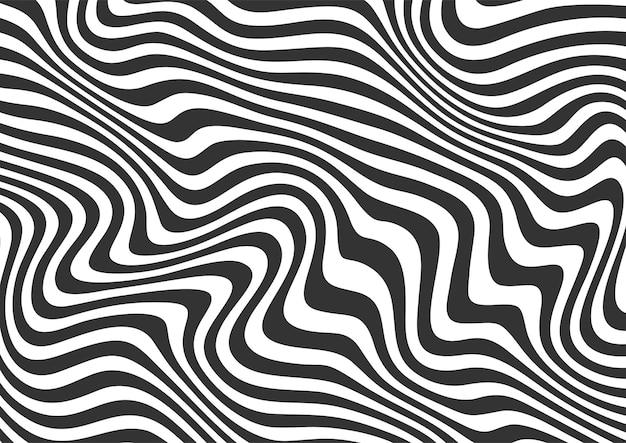 Abstrait noir et blanc des lignes ondulées fond rayé, motif de fond des lignes ondulées