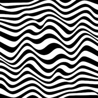 Abstrait en noir et blanc avec motif de lignes ondulées