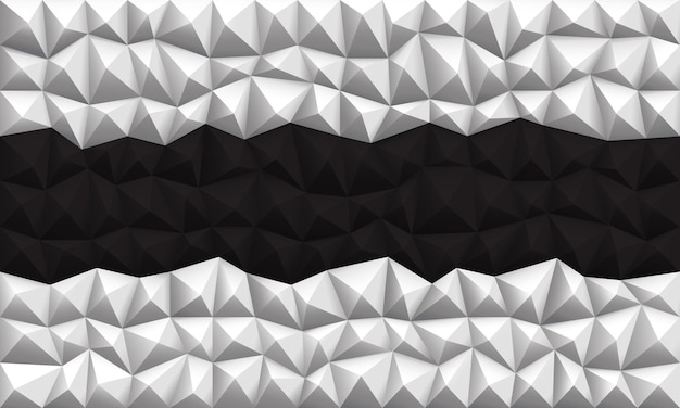 Abstrait noir blanc polygone géométrique triangle vecteur illustration de fond.